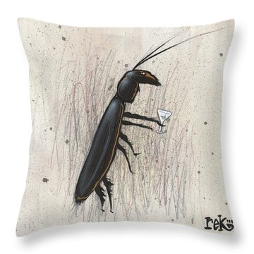 Throw Pillow featuring the painting Cockroach With Martini by Rick Baldwin