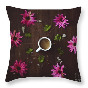 Coffee And Flowers Throw Pillow