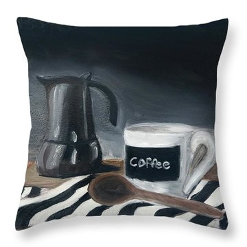 Throw Pillow featuring the painting Coffee Time by Fe Jones