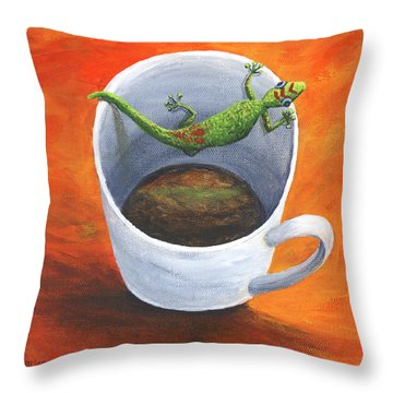 Throw Pillow featuring the painting Coffee With A Friend by Darice Machel McGuire