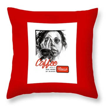 Throw Pillow featuring the mixed media Coffee With A Side by Lora Serra