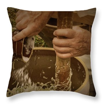 Throw Pillow featuring the photograph Coleslaw Maker by Guy Whiteley