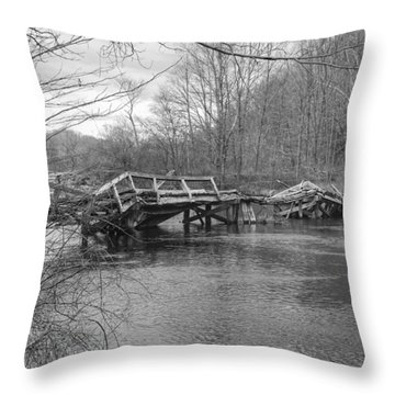 Collapsed Bridge At Waterloo Village Throw Pillow