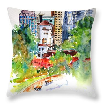 Colonial Vs The Modern In Hong Kong Throw Pillow