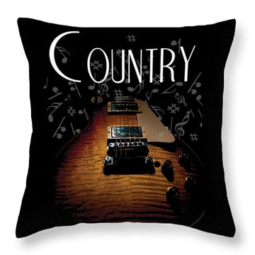 Color Country Music Guitar Notes Throw Pillow