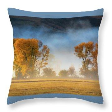 Colorado Autumn Fog Throw Pillow
