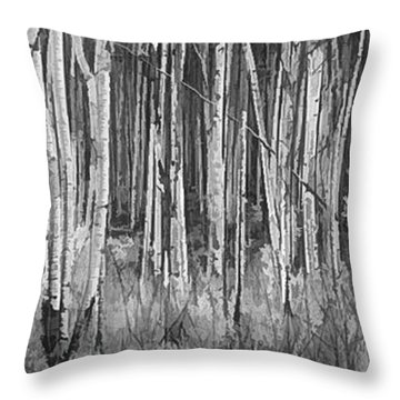 Throw Pillow featuring the photograph Colorado Autumn Wonder Panorama In Black And White  by OLena Art Brand