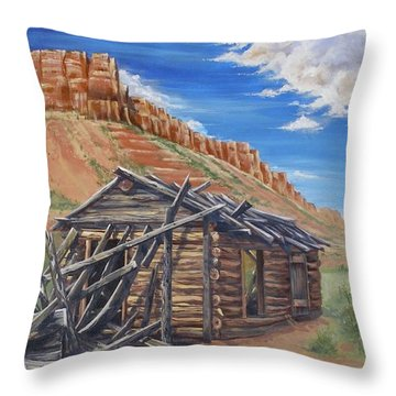 Throw Pillow featuring the painting Colorado Prarie Cabin by Alan Johnson