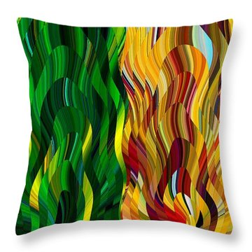 Colored Fire Throw Pillow