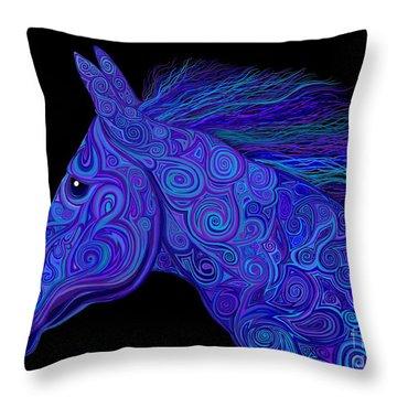 Colorful Blue Stallion Throw Pillow