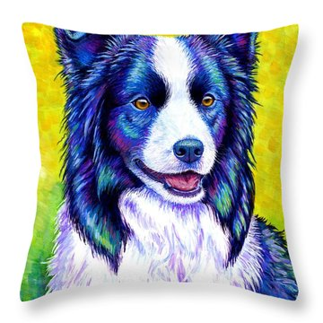 Colorful Border Collie Dog Throw Pillow