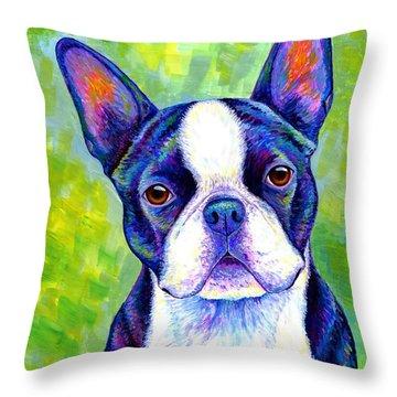 Colorful Boston Terrier Dog Throw Pillow
