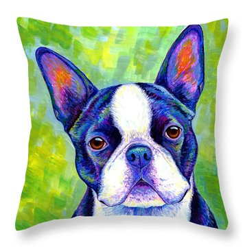 Colorful Boston Terrier Dog Throw Pillow
