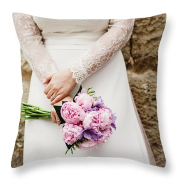Colorful Bridal Bouquets With Flowers Throw Pillow