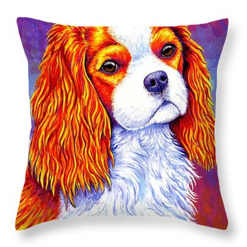 Colorful Cavalier King Charles Spaniel Dog Throw Pillow