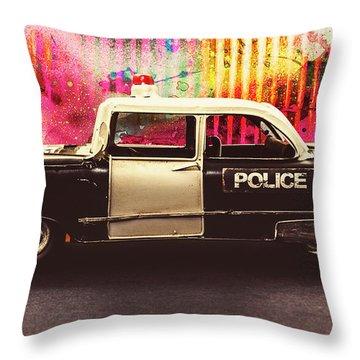 Colorful Crime  Throw Pillow