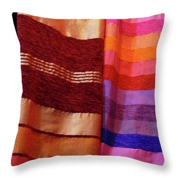 Colorful Fabrics In The Medina Market  Throw Pillow