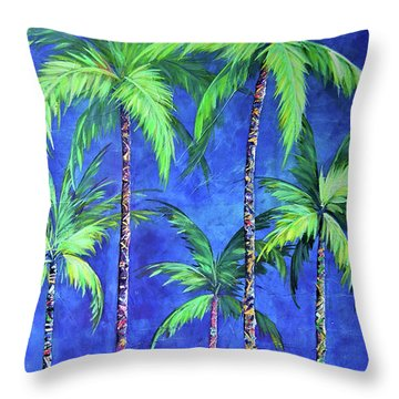 Colorful Family Of Five Palms Throw Pillow