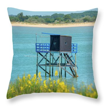 Colorful Fishing Huts Throw Pillow