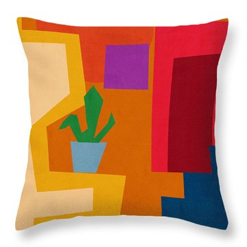 Colorful Geometric House 1- Art By Linda Woods Throw Pillow