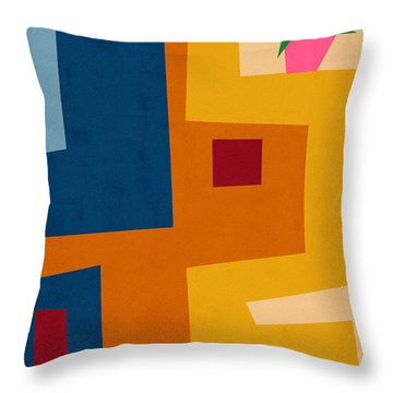 Colorful Geometric House 3- Art By Linda Woods Throw Pillow