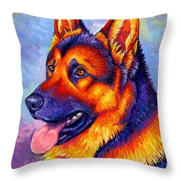Colorful German Shepherd Dog Throw Pillow