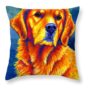 Colorful Golden Retriever Dog Throw Pillow