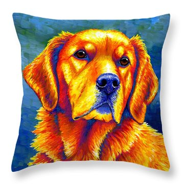 Colorful Golden Retriever Dog Throw Pillow