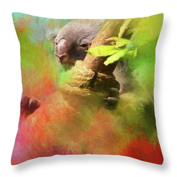 Colorful Koala Throw Pillow