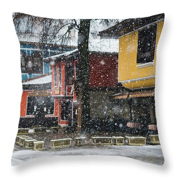 Colorful Koprivshtica Houses In Winter Throw Pillow