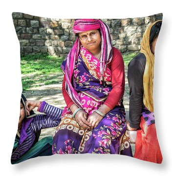 Colorful Ladies Throw Pillow