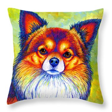 Colorful Long Haired Chihuahua Dog Throw Pillow