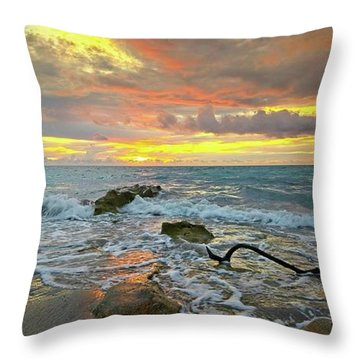 Colorful Morning Sky And Sea Throw Pillow