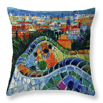 Colorful Mosaic Park Guell Barcelona Impasto Palette Knife Stylized Cityscape Throw Pillow