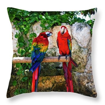 Colorful Parrots Throw Pillow