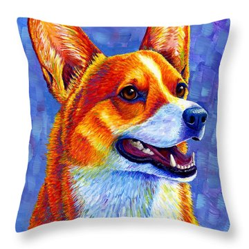 Colorful Pembroke Welsh Corgi Dog Throw Pillow
