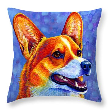 Colorful Pembroke Welsh Corgi Dog Throw Pillow