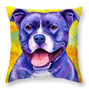 Colorful Pitbull Terrier Dog Throw Pillow