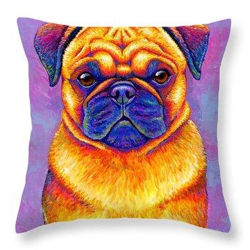 Colorful Rainbow Pug Dog Portrait Throw Pillow