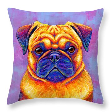Colorful Rainbow Pug Dog Portrait Throw Pillow