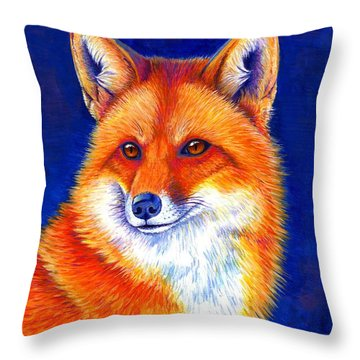 Colorful Red Fox Throw Pillow
