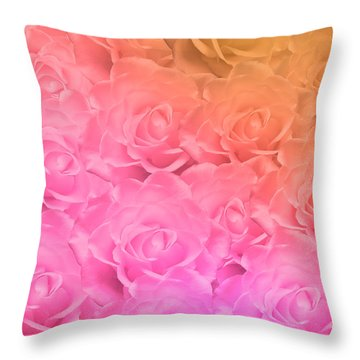 Throw Pillow featuring the photograph Colorful Roses Art Design by Johanna Hurmerinta