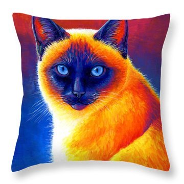 Jewel Of The Orient - Colorful Siamese Cat Throw Pillow