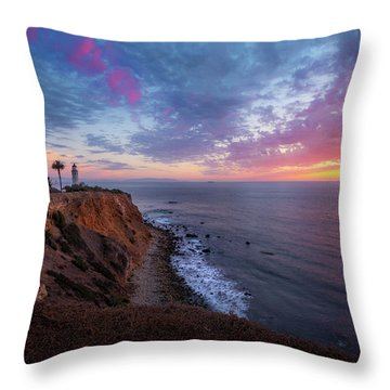 Colorful Sky After Sunset At Point Vicente Lighthouse Throw Pillow