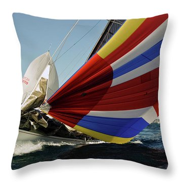 Colorful Spinnaker Run Throw Pillow