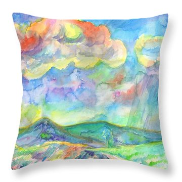 Throw Pillow featuring the painting Colorful Summer Landscape by Dobrotsvet Art