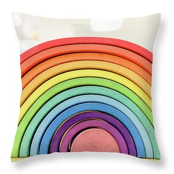 Colorful Waldorf Wooden Rainbow In A Montessori Teaching Pedagogy Classroom. Throw Pillow