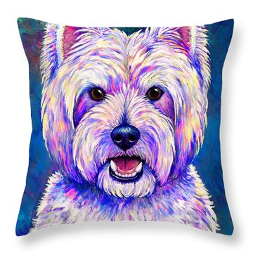 Colorful West Highland White Terrier Blue Background Throw Pillow