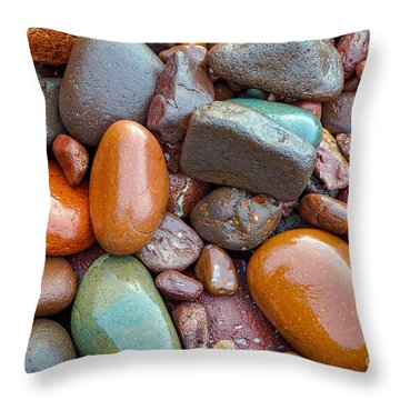 Colorful Wet Stones Throw Pillow