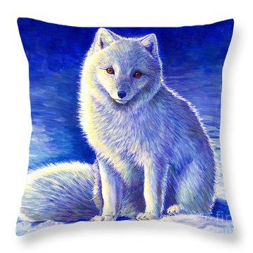 Colorful Winter Arctic Fox Throw Pillow
